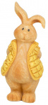Arti Casa beeld konijn met gele jas 7,5x12x20 cm polyresin
