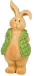 Arti Casa beeld konijn met groene jas 7,5x12x20 cm polyresin