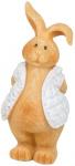 Arti Casa beeld konijn met witte jas 7,5x12x20 cm polyresin