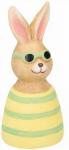 Arti Casa beeld paashaas met zonnebril klei 13,5 cm geel/groen