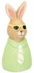 Arti Casa beeld paashaas met zonnebril klei 13,5 cm groen