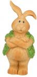 Arti Casa beeldje konijn met groene jas 12x9,5x14 cm polyresin