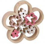 Arti Casa decoratie-ornament Bloem 23 cm hout blank