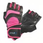 Atipick fitness-handschoenen Donna leer/mesh zwart/roze maat L