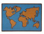 Balvi deurmat World Map 65 x 45 cm polyester/PVC blauw/bruin