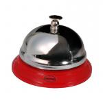 Cabanaz tafelbel 8,5 cm staal/chroom rood