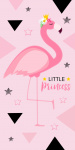 Carbotex handdoek Flamingo junior 70 x 140 cm katoen roze