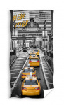 Carbotex strandhanddoek New York Caps 140 x 70 cm grijs/geel
