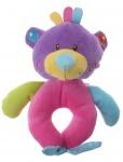 Eddy Toys pluche rammelaar beer paars/roze 16 cm