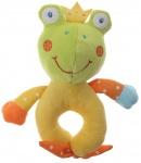 Eddy Toys pluche rammelaar kikker groen/geel 16 cm