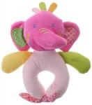 Eddy Toys pluche rammelaar olifant paars/roze 16 cm