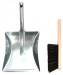 Esschert Design stoffer en blik 20 x 20 cm staal/hout zilver