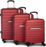 Fabrizio kofferset Runway 36/61/96 liter ABS rood 3-delig