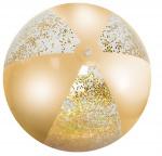 Free and Easy strandbal met glitters 50 cm PVC geel/zilver