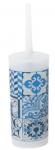 Gerimport toiletborstelhouder 10 x 34 cm transparant/blauw