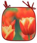 Gerimport tuinstoelkussen tulp 38 x 38 cm polyester rood