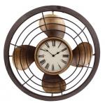 Gifts Amsterdam wandklok Fan 60 x 6 cm staal bruin/goud