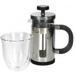 KitchenCraft cafetière Pisa 350 ml RVS/glas zilver 2-delig