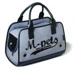 M-Pets draagtas hond/kat 40 x 20 x 28 cm polyester grijs