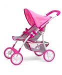 Milly Mally poppenwagen Natalie Prestige meisjes 54 cm roze/grijs