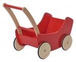 Nic poppenwagen hout 45 cm rood/bruin