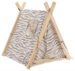 Pets Collection hondentent junior 50 x 60 cm polyester wit/grijs