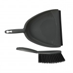 ProPlus stoffer en blik 22 x 33 cm grijs/zwart 2-delig