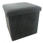 Rox Living opbergbox/poef 38 cm 55 liter alcantara antraciet