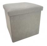 Rox Living opbergbox/poef 38 cm 55 liter alcantara grijs