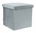 Rox Living opbergbox/ poef 38 cm 55 liter fluweel grijs