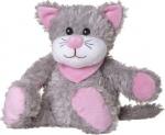 Welliebellies opwarmknuffel kat 30 cm grijs/roze